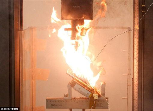 三星加壓測試起火。(圖/翻攝自路透社)-http://www.dailymail.co.uk/sciencetech/article-3825286/Shocking-images-Samsung-Galaxy-Note-7-burst-flames-pressure-applied-battery.html