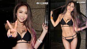 辣妹雪碧大方展露32E性感撩人身材,作風大膽還因此被稱為「台灣情色教主」。(記者邱榮吉/攝影)