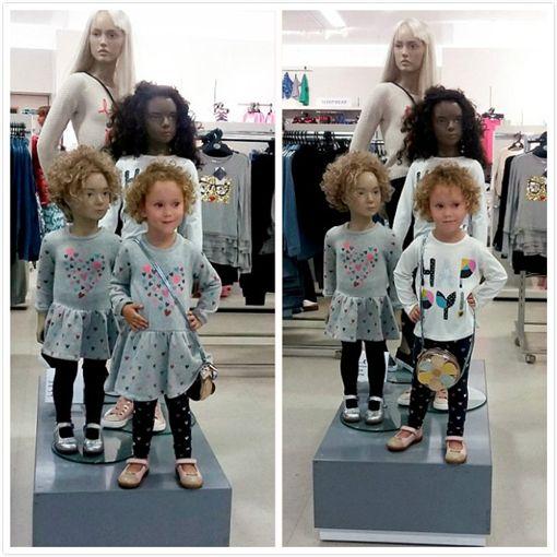 人形,模特兒,英國,女童,百貨,衣裝,洋娃娃(http://www.dailymail.co.uk/news/article-3825616/It-s-s-Cute-moment-girl-3-sees-mannequin-M-S-looks-dresses-like-her.html)