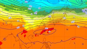 圖:歐洲中期預報中心(ECMWF)20日20時,模擬28日20時500百帕天氣圖,中層大氣太平洋高壓籠罩,地面風力微弱,將形成秋老虎的天氣型態。