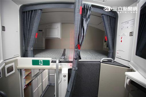 華航空中巴士A350帝雉號機組員休息室。(圖/記者簡佑庭攝)