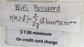 想要連餐廳的免費WiFi?先解開這道數學公式再說 圖/翻攝自Reddit