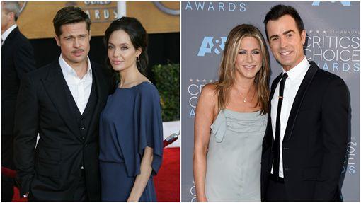 布萊德彼特,Brad Pitt,安潔莉娜裘莉,Angelina Jolie,賈斯汀瑟魯斯,Justin Theroux,珍妮佛安妮斯頓,Jennifer Aniston/達志影像/美聯社