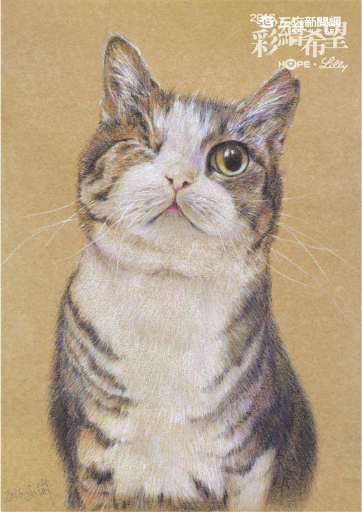 癌友林函諭參與第六屆「彩繪希望」繪畫比賽,以<殘缺的小萌貓>作品榮獲第三名的好成績。(圖/癌症希望基金會)