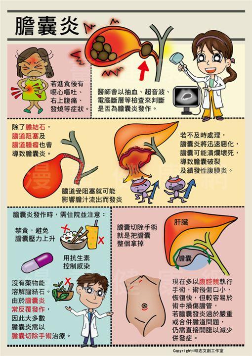 外科醫師劉育志(Dr.小志志)以圖文解說膽囊炎症狀與對健康的影響。(圖/漫畫健康網)