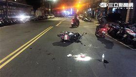 林男騎車經過明德路時撞上穿越馬路的吳男(翻攝畫面)
