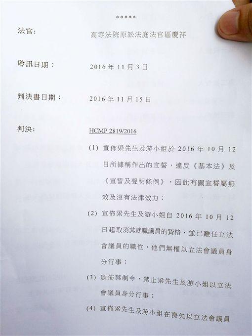 港高院判決  取消梁頌恆游蕙禎議員資格/中央社