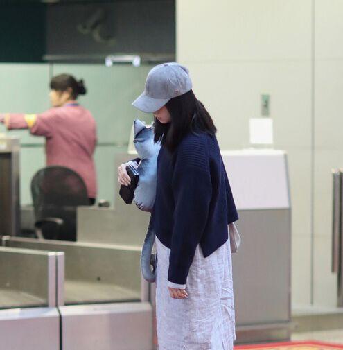蔣欣,機場,睡著(圖/翻攝自鳳凰娛樂)