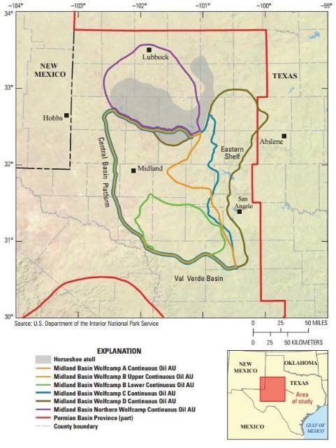 德州發現油頁岩的區域/美國地質調查局