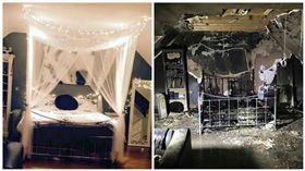 少女睡前充iPhone 充電器起火燒掉夢幻閨房 圖/翻攝自South Wales
