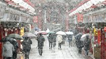 東京,下雪,初雪,11月雪 圖/中央社 16:9