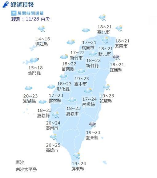 1128氣象(圖/翻攝自中央氣象局)