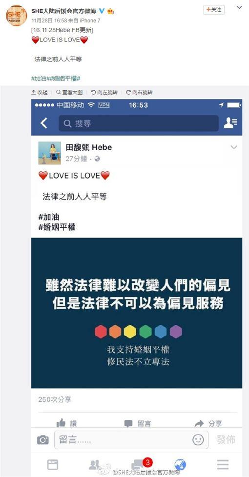 同性婚姻,同性戀,微博,大陸,網友 圖/翻攝自微博