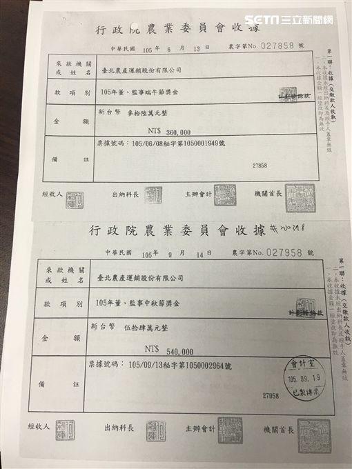 北農總經理韓國瑜批農委會王小二過年 給農委會及北市府獎金收據 盧冠妃攝