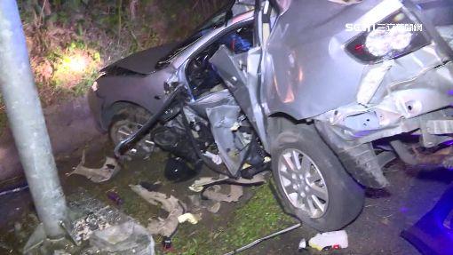 天雨打滑失控撞 駕駛受困車內送醫不治