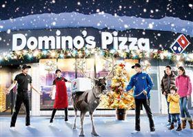 披薩,聖誕節,馴鹿,日本,達美樂,外送,頭套,機車,新北耶誕城 圖/YouTube日本達美樂