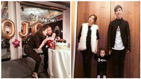 咘咘牽爸媽祝福歐弟女兒 一身黑白勁裝像拍服裝型錄 圖/翻攝自賈靜雯臉書