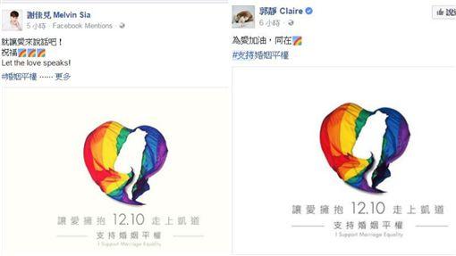 藝人換上彩虹頭貼 力挺婚姻平權。資料來源:臉書