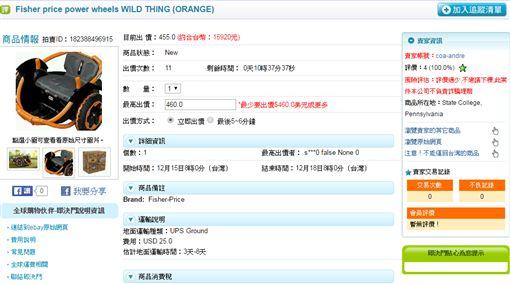 美國電動玩具車power wheels WILD THING(圖/翻攝自79door)http://www.79-door.com/ebay_pro_inside.asp?yclass=0&itemId=182388496915