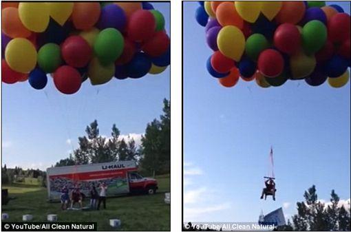 加拿大,摺疊椅,氣球,Calgary,飛行器,降落傘,違法,開罰,天外奇蹟(每日郵報 http://www.dailymail.co.uk/news/article-3151714/Terrifying-moment-man-travelling-chair-tied-100-BALLOONS-forced-parachute-safety-realizing-higher-plane-gets)