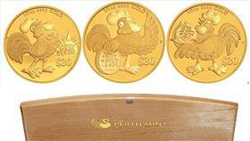 台銀雞年紀念金銀幣,圖為2017福祿壽吉利金雞紀念金幣。(台銀提供)