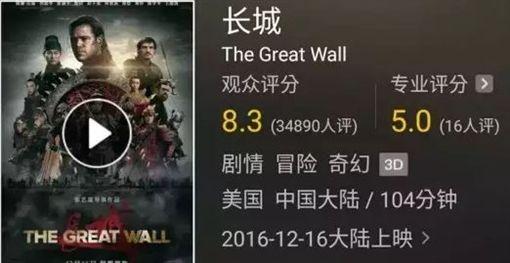 電影《長城》評分(圖翻攝自/貓眼電影) http://maoyan.com/films/246267
