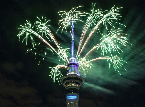 紐西蘭2017跨年煙火(圖/美聯社/達志影像)