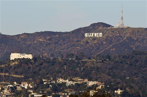 洛杉磯地標,HOLLYWOOD,好萊塢,HOLLYWeeD(圖/美聯社/達志影像)