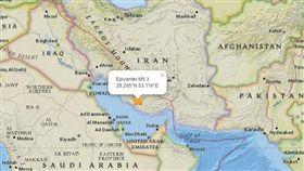 伊朗,地震(圖/翻攝自USGA網站)