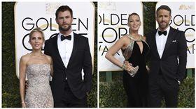 金球紅毯 克里斯漢斯沃(Chris Hemsworth) 雷恩萊諾斯(Ryan Reynolds) 圖/美聯社