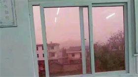 大陸江西德興市出現「粉紅天空」。(圖/翻攝自財經網微博)