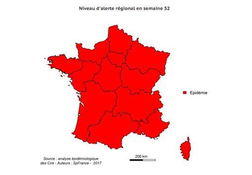 法國流感疫情蔓延  全境達紅色警戒法國入冬後出現一波嚴重流行性感冒疫情,全境已達紅色警戒,尤其威脅高齡者。(截圖自法國公共健康局)中央社記者曾依璇巴黎傳真  106年1月11日