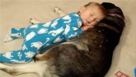 小寶寶和月月躺在一起。(圖/翻攝自Kyoot Kids YouTube)