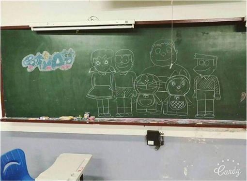 黑板,教室,靜香,小叮噹,哆啦a夢,Dcard,板畫 圖/翻攝自Dcard