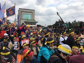 郝龍斌,年金改革,凱道,抗議 圖/記者吳宜蓁拍攝
