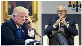 川普(Donald Trump)與澳洲總理滕博爾(Malcolm Turnbull)(合成圖/美聯社/達志影像)