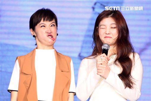 韓星金裕貞首次來台在媒體見面會裡,不濟形象現場扮鬼臉搞笑,希望台灣粉絲們多多支持她。(記者邱榮吉/攝影)