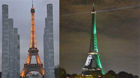 法國,艾菲爾鐵塔,維安,築牆 組圖/中央社