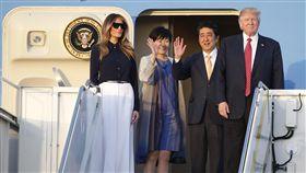 美國第一夫人梅蘭妮亞、日本首相安倍晉三夫婦、美國總統川普(圖/美聯社/達志影像)