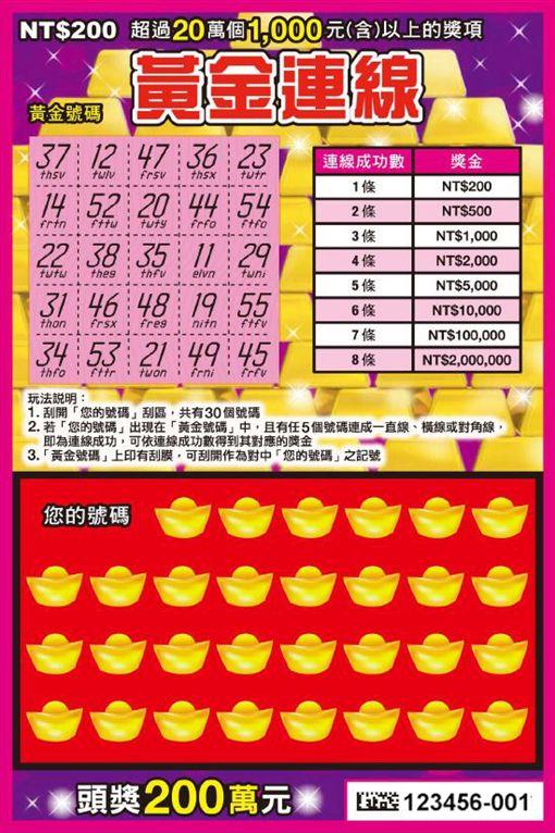 ▲新款刮刮樂「黃金連線」(圖/台灣彩券提供)