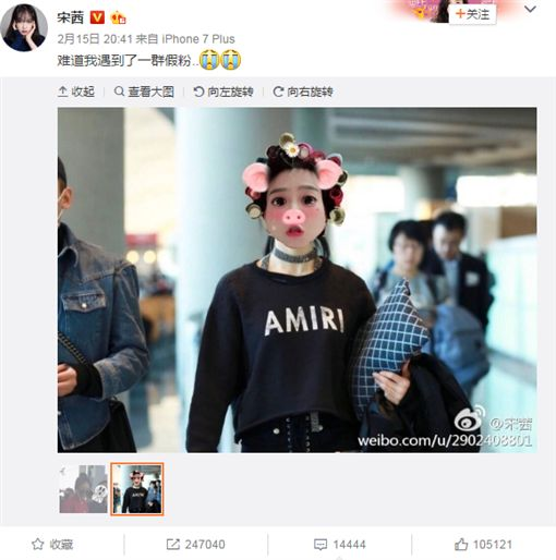 ▲宋茜截圖上傳粉絲拍她的登機照並自嘲。(圖/翻攝自宋茜微博)