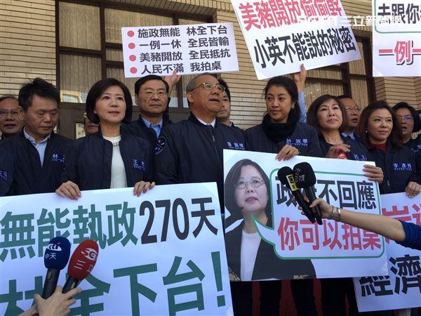 國民黨團在立法院門口抗議/記者陳彥宇攝