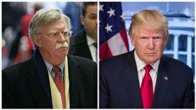 前美國駐聯合國大使波頓(John Bolton)與川普(Donald Trump)。(合成圖/美聯社/達志影像)