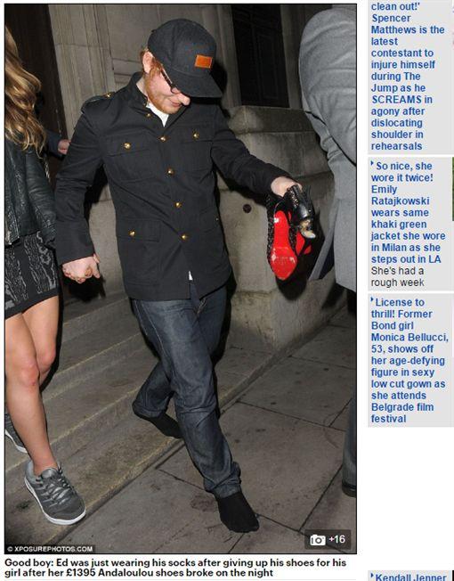 紅髮艾德,Ed Sheeran,高跟鞋,球鞋席柏恩,Cherry Seaborn,光腳,全英音樂獎,Brit Awards/《每日郵報》