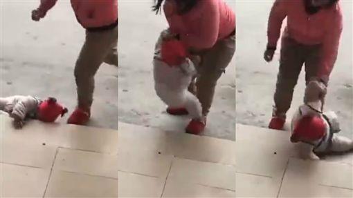 媽媽,虐童,狠踹 圖/翻攝自秒拍