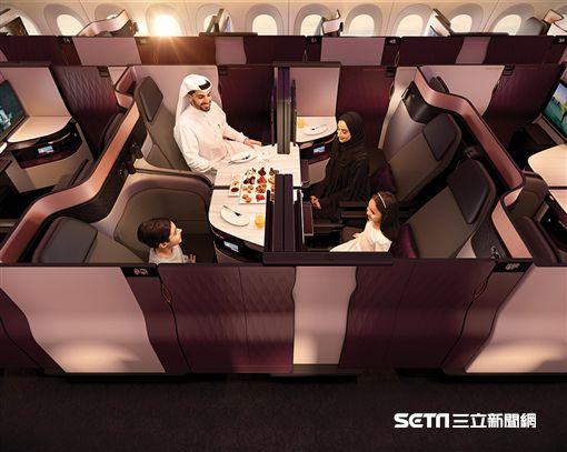 卡達航空QSuite商務艙, Qatar Airways。(圖/卡達航空提供)