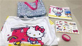 2017 Hello Kitty Run活動跑衣品質太差,掉色、汙漬,跑者抱怨連連。(圖/民眾提供/中央社)三麗鷗,凱蒂貓,