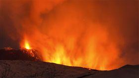 義大利埃特納火山爆發(圖/美聯社/達志影像)