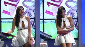 義大利足球節目女主持人歐芙尼(Barbara Francesca Ovieni),在節目上不慎走光。 取自YouTube