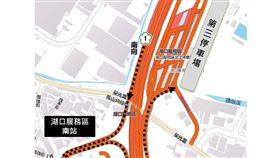 清明連假國道湖口服務區增設停車位。(圖/高公局提供)